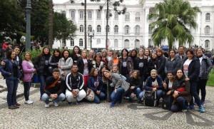 Professores e funcionários de São Mateus do Sul e Antonio Olinto na manifestação em Curitiba no dia 19 de maio.