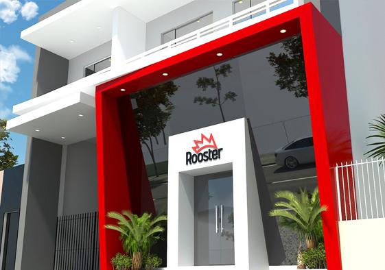 Imagem: Projeto retrofit de fachada em ACM, desenvolvido pelo escritório  Ribacz Arquitetura para a empresa Rooster Publicidade e Comunicação Visual, de São Mateus do Sul