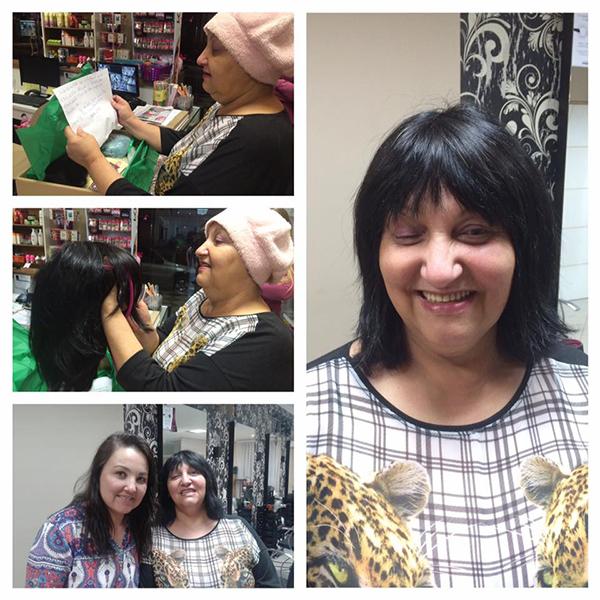 As fotos, à direita, mostram a primeira entrega de peruca, realizada pela proprietária do Centro de Beleza Vita Spa, em São Mateus do Sul, para uma mulher em tratamento contra o câncer, há umas duas semanas atrás.