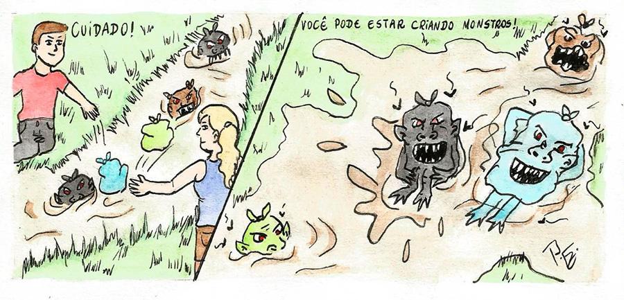 Charge da semana sobre enchentes do rio Canoas. Somos monstros de nós mesmos!